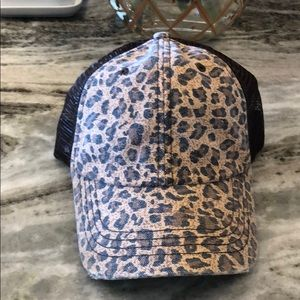 Leopard hat with mesh
